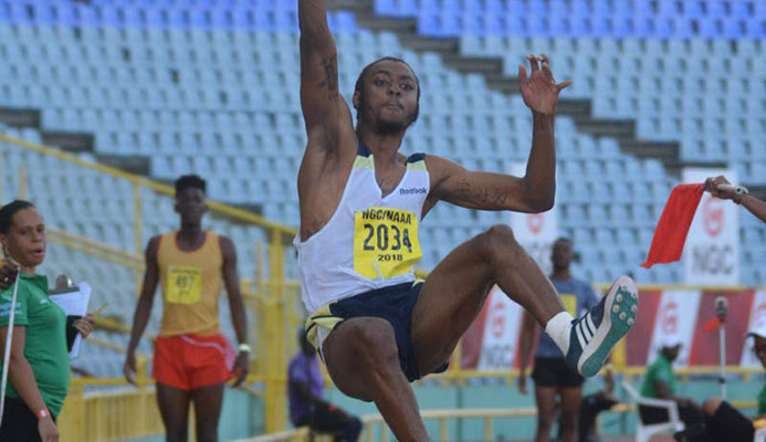Andwuelle Wright from Signal Hill jumps his way to a new national men's long jump record at the 2018 NGC/Sagicor National Open Championships at the Hasely Crawford stadium in Port of Spain, last year. PHOTO BY ANDRE DE GANNES