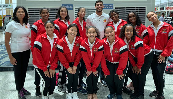 The TT Under-16 girls team with staff before leaving Trinidad to compete at the 2019 Sunshine State Games Water Polo Championships in Florida.