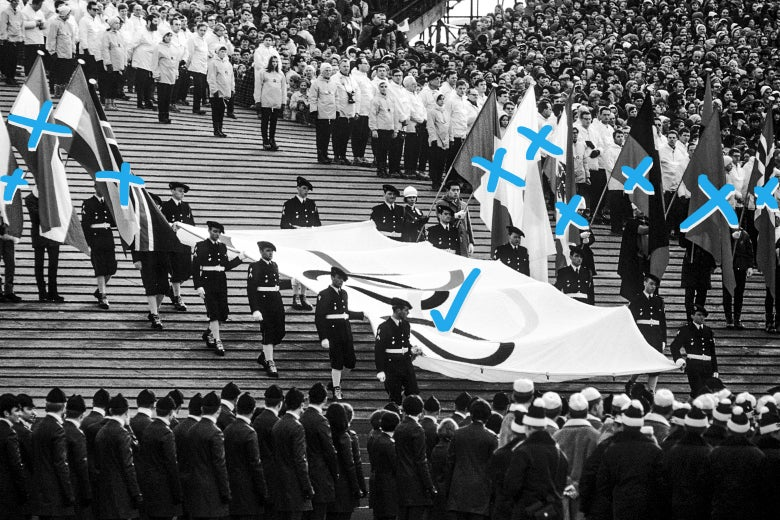 Presentation of Olympic flag during the opening ceremony of the 1968 Winter Olympics on Feb. 6, 1968, in Grenoble, France. Phot illustration by Slate. Photo by Robert Riger/Getty Images.