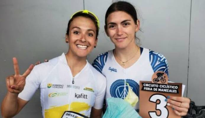 TT's Alexi Costa, right, celebrates her third place finish at the Feria de Manizales Cycling Circuit in Colombia on Monday. At left is gold medallist, Diana Carolina, of Colombia. - Photo courtesy Alexi Costa